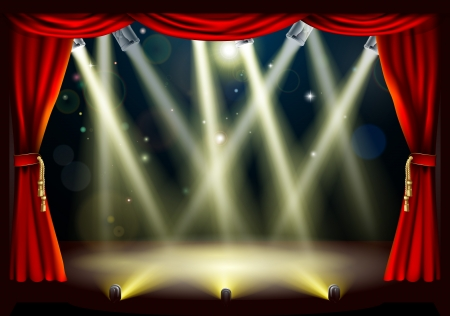 Illustration of a theater stage with lots of stage lights or spotlights with footlights Stock Vector - 14002214