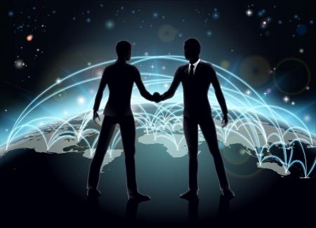 Silhouettes des hommes d'affaires se serrant la main en face de la carte du monde avec le réseau ou des lignes commerciales internationales