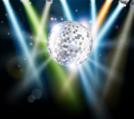 Illustration of a disco mirror ball or glitter ball with disco lights  Illustration