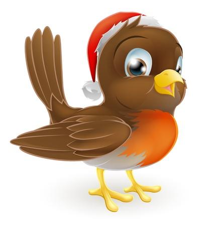 Een illustratie van een cartoon kerst Robin in een kerstmuts