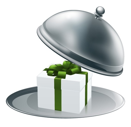 Illustration of a luxury gift on a silver platter tied with green ribbon and bow Stock Vector - 14052159