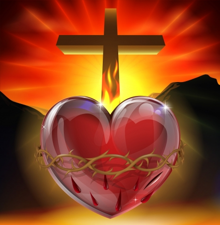 Illustrazione del simbolo cristiano del sacro cuore. Un cuore che brilla di luce divina con corona di spine, ferita da lancia e fiamma che rappresentano l'amore divino.