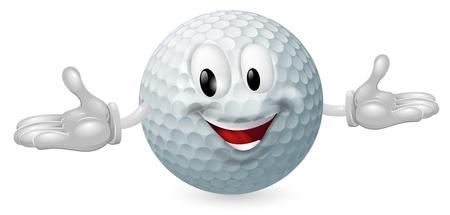 Illustrazione di un simpatico uomo felice mascotte pallina da golf
