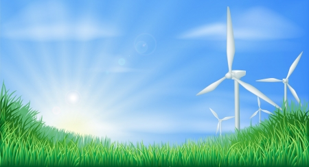 Illustration of wind turbines in green landscape for sustainable renewable energy power generation Stock Vector - 14095035