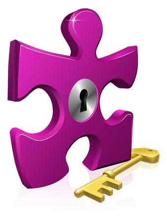 Illustration de la pièce de puzzle verrouillé. Business concept pour la résolution de problèmes ou d'autres