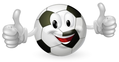 Illustration of a cute happy soccer football ball mascot man smiling and giving a thumbs up Ilustrace