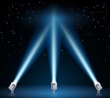 Illustratie van koplampen en schijnwerpers, wijzen in de nachtelijke hemel