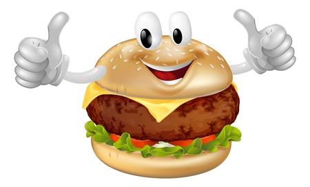 Illustration eines netten glücklich Rindfleisch oder Käse Burger Maskottchen Mann lächelnd und gibt einen Daumen nach oben