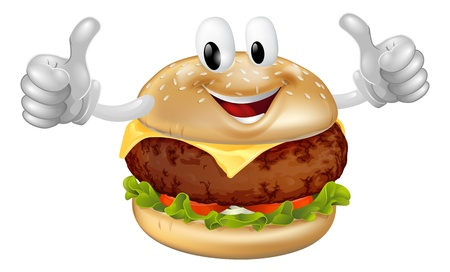 Illustration of a cute happy beef or cheese burger mascot man smiling and giving a thumbs up