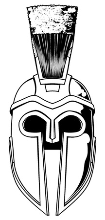 Illustration of front on Spartan helmet or Trojan helmet also called a Corinthian helmet. Versions also used by the Romans.