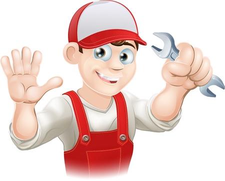 Illustratie van een gelukkige loodgieter of monteur in zijn werk kleren met moersleutel