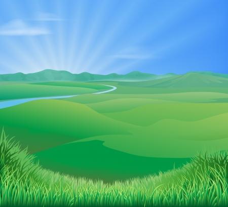 Un'illustrazione idilliaca del paesaggio rurale con le colline verdi dell'erba di rotolamento e un sole che aumenta sopra le montagne