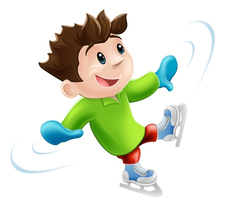 Cartoon of a young man or boy having a wobbly ice skate!
