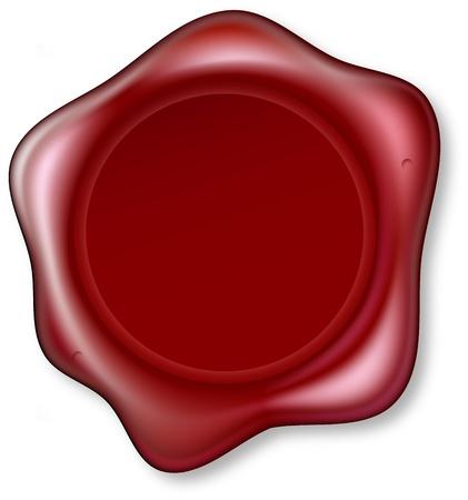 Gráfico de lacre rojo que ha sido grabada. Sello de la cera en blanco para que pueda colocar el diseño en el centrer. Ilustración de vector
