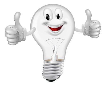Illustrazione di un uomo felice lampadina fumetto dando un pollice in alto