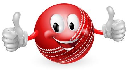 かわいい幸せのクリケット ボールのマスコット男笑顔で親指を与えるのイラスト