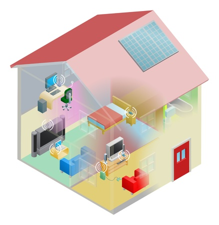 A home internet network with wireless and computing devices connected in a home group local area network. Illustration