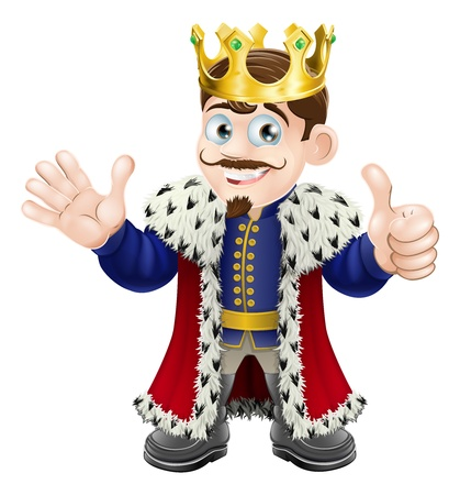 Illustratie van een gelukkig koning lachend, zwaaiend en het geven van een thumbs up