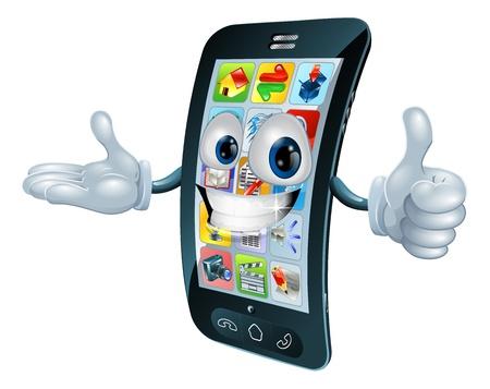 Teléfono celular el carácter del hombre dando un pulgar hacia arriba