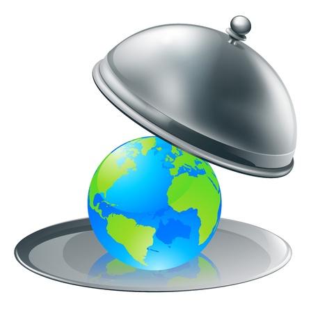 Illustrazione del globo mondo su un piatto d'argento. Concetto per il mondo su piastra (opportunità o successo), o la gestione dell'ambiente.