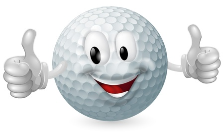 Illustration of a cute happy golf ball mascot man smiling and giving a thumbs up Stock Vector - 14466004