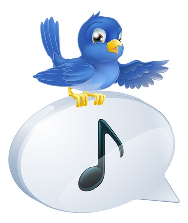 Illustration of a cute bluebird standing musical note speech bubble and singing or tweeting Illustration