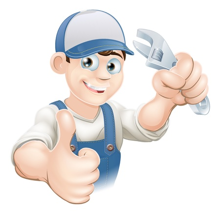 Graphic of a smiling plumber, mechanic or handyman in overalls holding a wrench and giving thumbs up Ilustrace
