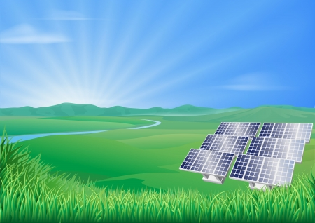 Illustration of solar panels in green landscape for sustainable renewable energy power generation  Illustration