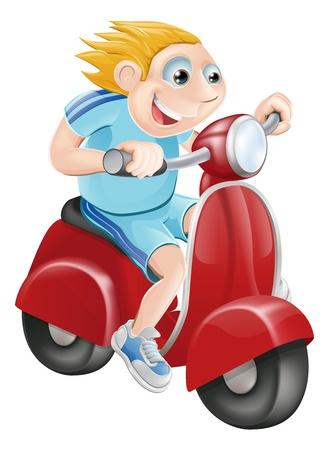 Illustratie van een gelukkig man snel rijden op zijn rode brommer