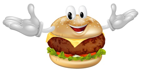 Illustratie van een leuke gelukkige rundvlees of kaas hamburger mascotte mens Vector Illustratie