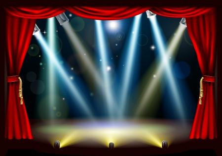 Een schijnwerper theaterpodium met gekleurde spots en rode gordijn gordijnen