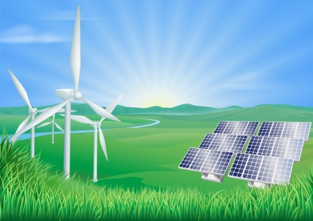 Illustration of wind turbines and solar panels generating renewable energy