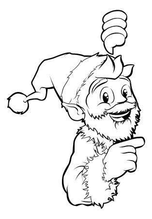 Black and white Santa pointing Christmas illustration Stock Vector - 14603636