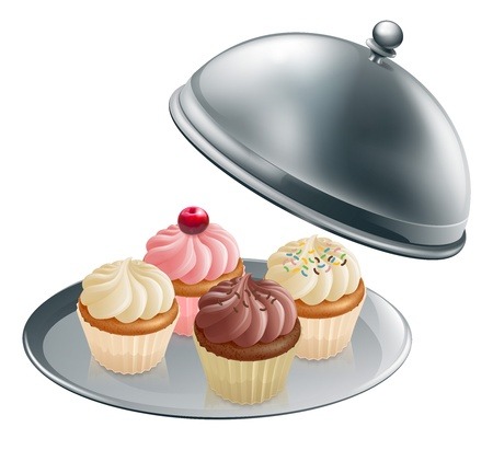 Illustration of different flavour cupcakes on a silver platter