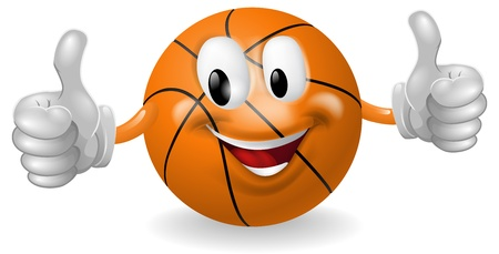 귀여운 행복 농구 공 마스코트 남자 웃 고 엄지 손가락을주는 그림 일러스트
