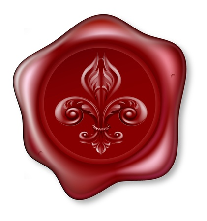 Illustration of a red sealing wax Fleur-de-lis Wax Seal