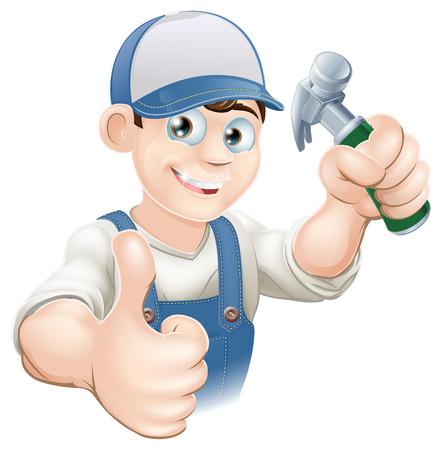 Illustration d'un bricoleur heureux, constructeur, travailleur de la construction ou charpentier dans les vêtements de travail tenant un marteau et donnant thumbs up Vecteurs