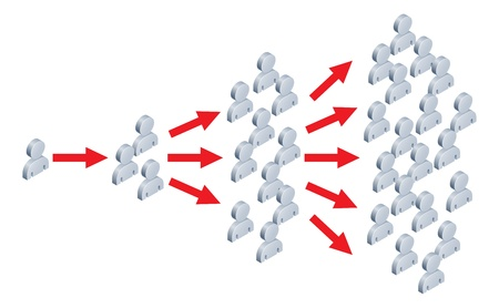 Illustration of something spreading to lots of people, like an idea going viral on the internet or in viral marketing.