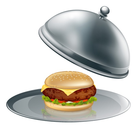 Illustration of a cheese burger on silver platter. Could be a concept for inflated worth or luxury burgers.