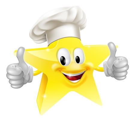 Illustration d'une mascotte étoiles à un chef ou un chapeau de boulanger, le concept de meilleur cuisinier ou similaire