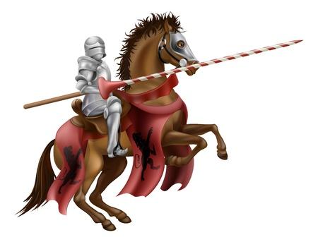 Ilustración de un caballero montado en un caballo que sostiene una lanza, listo para justar Ilustración de vector