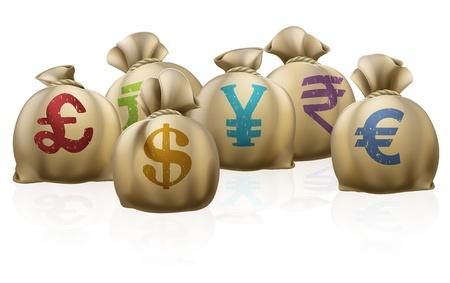 Illustrations des lots de sacs d'argent avec des symboles monétaires sur les