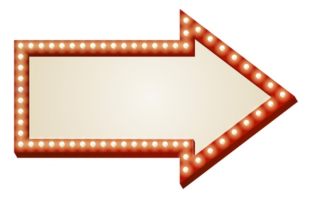 Illustration of red arrow sign with copy space and light bulbs surround