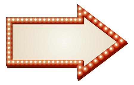 Ilustración de la muestra de la flecha roja con copia espacio y bombillas rodean