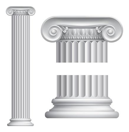 Illustratie van de klassieke Griekse of Romeinse Ionische zuil