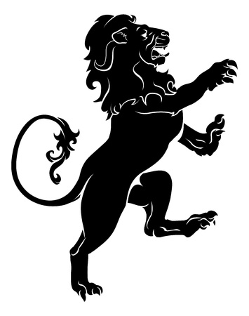 Illustration of a heraldic rampant lion on hind legs, like those found on a coat of arms