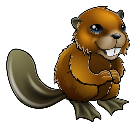 An illustration of a happy cartoon beaver character