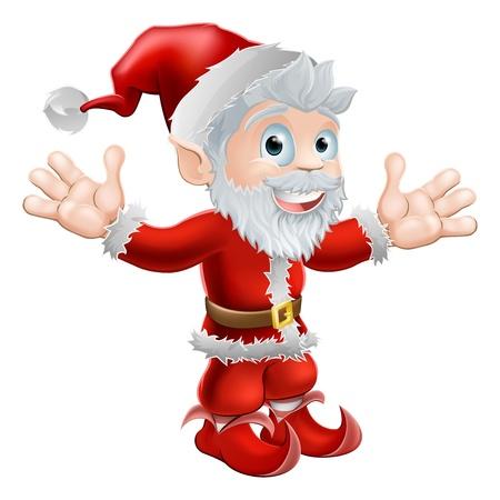 Christmas illustration of a cute happy Santa Claus smiling and waving