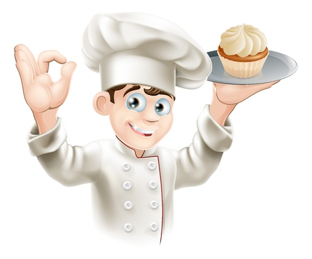 Illustration of baker holding a tray with a cupcake on it