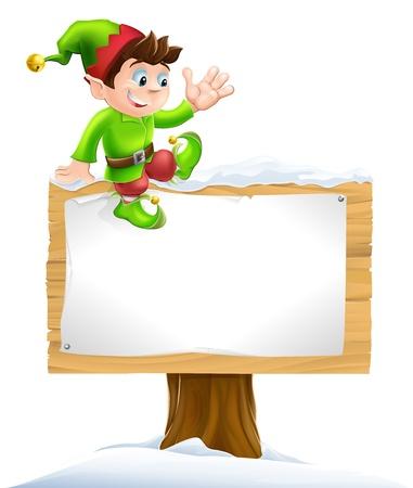 Een leuke kerst elf op zittend op een besneeuwde teken en zwaaien Vector Illustratie